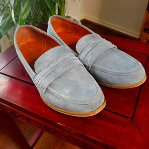 Blue Suede Slip-On Loafers